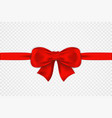 red satin bow and horizontal ribbon isolated vector image vector image