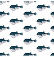 seamless pattern flat fugu pufferfish isolated on vector image vector image