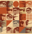 seamless pattern with human eyes and mouths vector image vector image