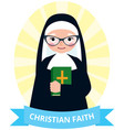 senior nun with a bible in hand vector image vector image