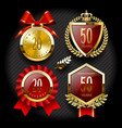 set of anniversary labels and classic gold tags vector image