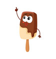 smiling ice cream on stick popsicle character vector image vector image