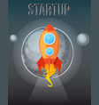 startup concept cosmos with rockets banner vector image vector image