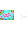 summer holiday card card with tropical leaves vector image vector image