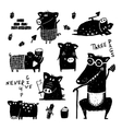 Three pigs and wolf funny set black white scribble vector image