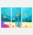 underwater scene cartoon flat background with fish vector image