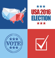 Usa 2016 election card with country map vote stamp vector image