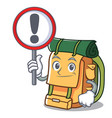 with sign backpack character cartoon style vector image vector image
