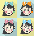 Woman Different Facial Expressions Flat Design vector image