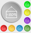 50 discount icon sign Symbols on eight flat vector image vector image