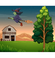 A witch at the farm vector image vector image