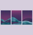 abstract blue waves gradient landscape set vector image