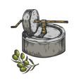 ancient olive oil press sketch engraving vector image vector image