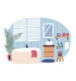 bathroom interior furnished with bathtub and vector image
