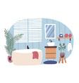 bathroom interior furnished with bathtub vector image