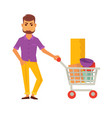 Bearded cartoon man stands with cart full of