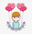 boy with hearts balloons and flowers with branches vector image vector image