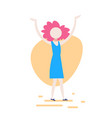 casual woman raising hands standing pose on white vector image vector image