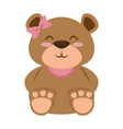 cute bear teddy female vector image