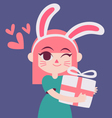 Cute Bunny Girl Holding a Present vector image vector image