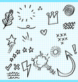 doodle set elements on paper arrow heart love vector image vector image