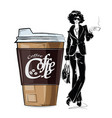 fashion girl in sketch-style with cup of cofe vector image