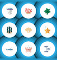 flat icon sea set of cancer medusa tuna and vector image vector image