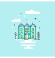 flat line with house trees vector image vector image