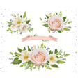 flower bouquet design object element set peach vector image vector image