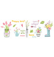 flower elements set mason jars with flower vector image