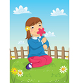 Girl Smelling Flower vector image