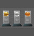 gold silver and bronze medal trophy realistic vector image vector image