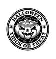 halloween vintage round emblem with pumpkin vector image