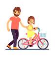 happy dad teaching daughter cycling bike happy vector image vector image