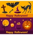 Happy halloween banners with characters and vector image