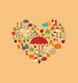 heart flat autumn icons vector image vector image