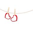 hearts clothespins 01 vector image vector image