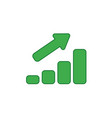 icon concept of sales bar graph moving up colored vector image vector image