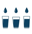 icon with falling water drop and glass vector image vector image