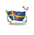 in love flag sweden with mascot shape vector image vector image