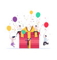 joyful people jump out near a gift box vector image vector image