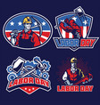 labor day badge designs in set vector image vector image