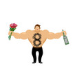 march 8 brutal macho congratulate bottle of wine vector image vector image