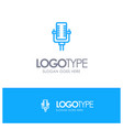 microphone multimedia record song blue logo line vector image vector image
