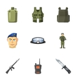 Military defense icons set cartoon style vector image vector image