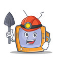 miner tv character cartoon object vector image vector image