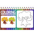 page of coloring book with contour cartoon tree vector image vector image