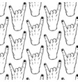 pattern with hand drawn rock hand tattoo vector image vector image
