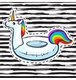 rainbow unicorn swim ring pool float inflatable vector image vector image