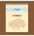 Recipe Book Eclairs vector image vector image